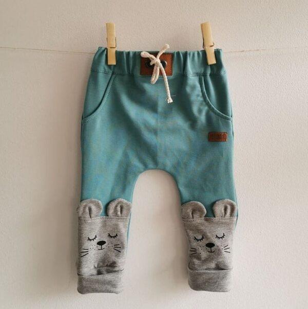 Baby/Kinder Hose Maus türkis meliert