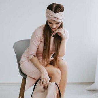 damen stirnband hellrosa geflochten